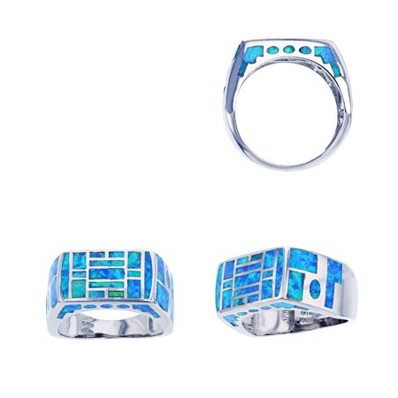 ZilverZoom Sterling Silver Blue Opal Rectangle Shape Checkerboard Design Ring
