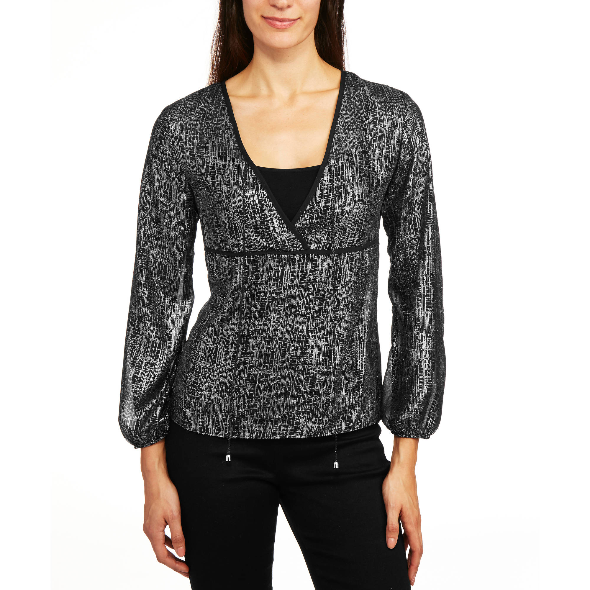 Glamour & Co. Women's Metallic Print Tie Front Blouse