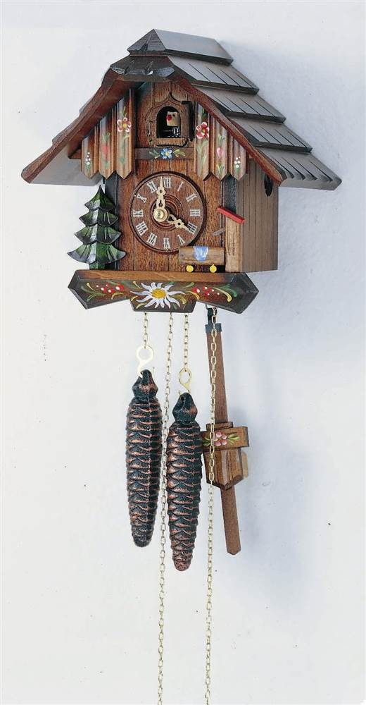 1-Day Hand Painted Flower Cuckoo Clock by Schneider Cuckoo Clocks
