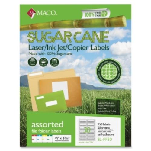 "Maco Printable Sugarcane File Folder Labels - 0.60"" Width X 3.50"" Length - 25 Sheet - Rectangle - 30/sheet - Laser, Inkjet - Assorted (MSLFF30)"