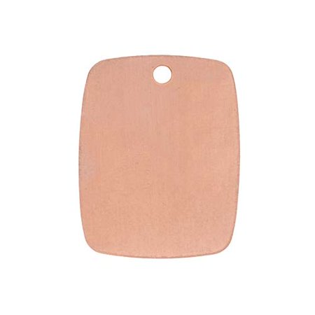 Solid Copper Stamping Blank Curved Rectangle Pendant 19mm x 29mm (Rectangle Solid)