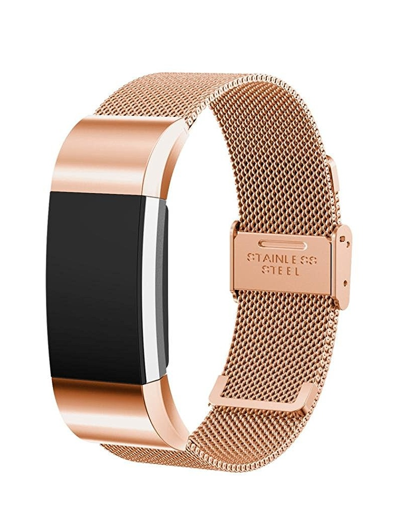 Luxury Milanese Stainless Steel Wrist Band Loop Strap Clasp for Fitbit Charge 2(Rose Gold)
