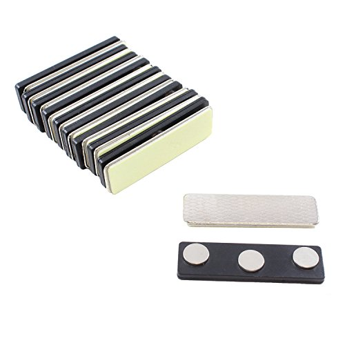 ExcelMark 10 Pack Magnet Name/ID Badges with Plastic Fastener