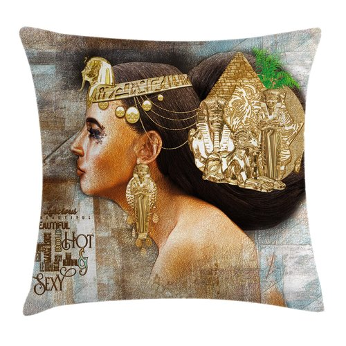 Ambesonne Egyptian Queen Cleopatra Jewels Pillow Cover