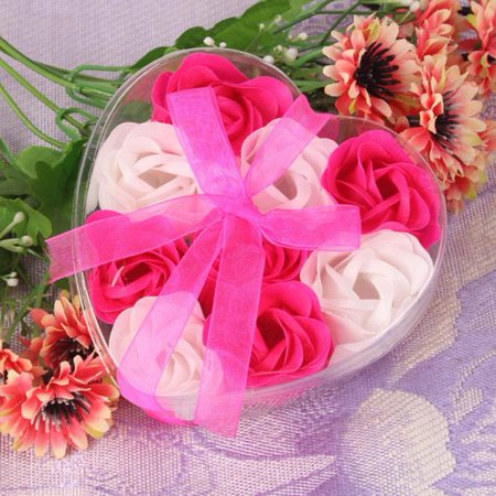 9Pcs Scented Rose Flower Petal Bath Body Soap Wedding Party Gift