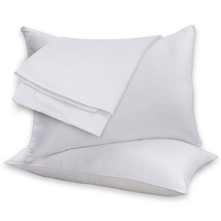 2 Pack 100% Cotton Shell Duck Feather & Down Pillow Pair  - White