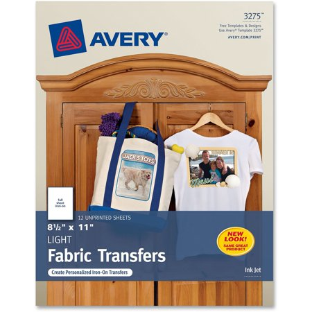 Avery Light Fabric Transfers For Inkjet Printers  8 1 2 X 11  White  12 Pack