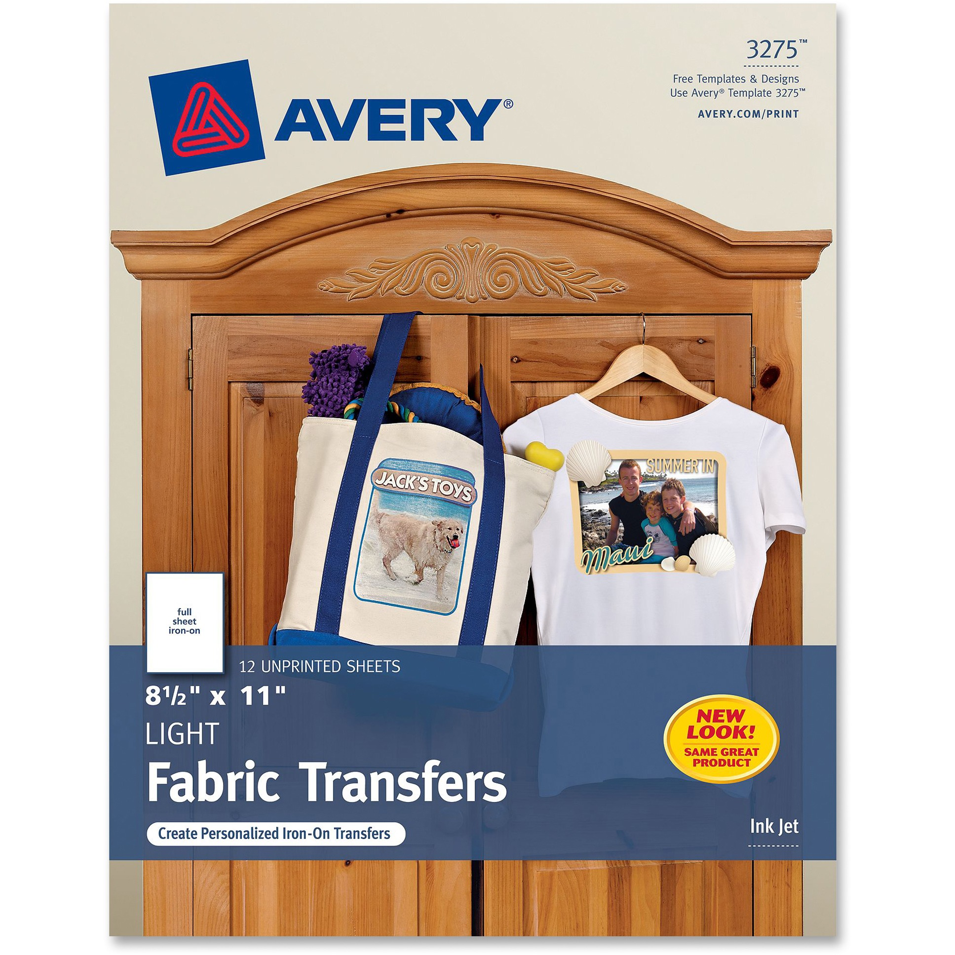 Avery Light Fabric Transfers for Inkjet Printers, 8 1/2 x 11, White, 12/Pack