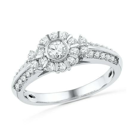 3/4 CT. TW. Stylish Diamond Engagement Ring in 10k White Gold