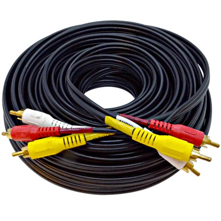 Seismic Audio  50 Foot 3 RCA Composite Audio Video RG59 Cable Heavy Duty - SARCRWY50