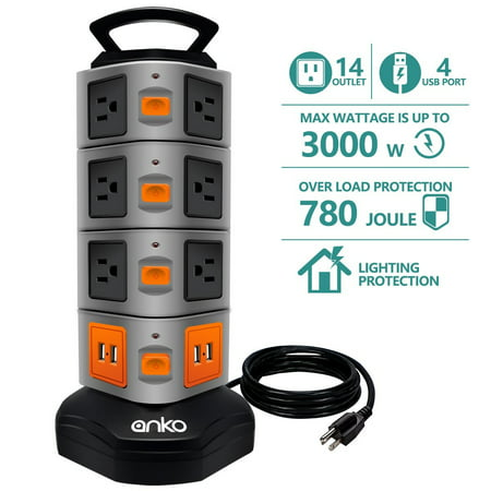 Watt Extension Cabinet - Power Strip Tower, ANKO 3000W 13A 16AWG Surge Protector Electric Charging Station, 14 Outlet Plugs with 4 USB Slot 6ft Cord Wire Extension Universal Charging Station(1-PACK)