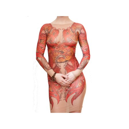 - Wild Rose Tattoo Mesh Dress, Full Body Tattoo Sleeve Back Illusion, Phoenix, Tan