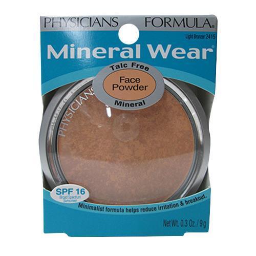Physicians Formula Mineral Wear Talc Free Mineral Face Powder, Light Bronzer - 0.3 Oz