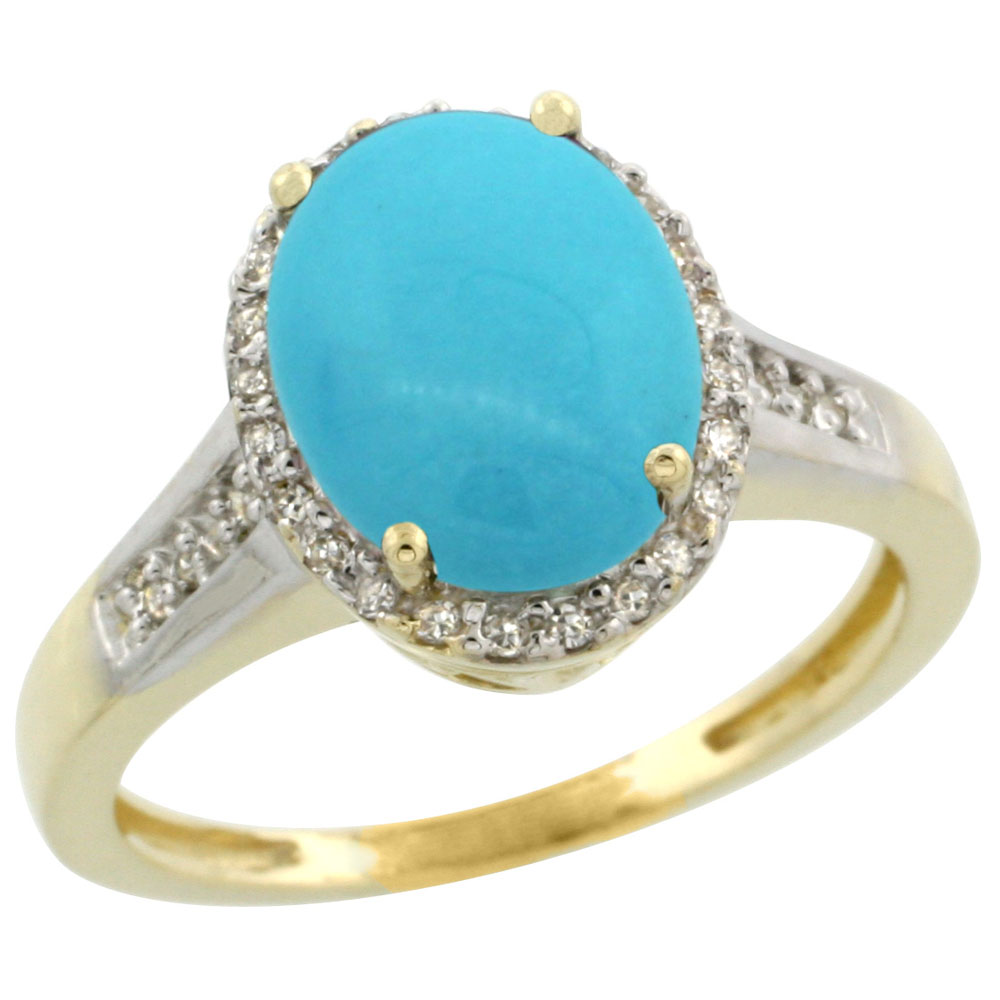 10K Yellow Gold Natural Diamond Sleeping Beauty Turquoise Ring Oval 10x8mm, sizes 5-10 by WorldJewels