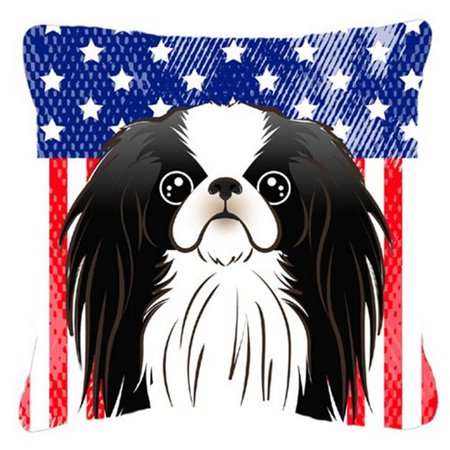 Carolines Treasures BB2160PW1818 American Flag & Japanese Chin Fabric Decorative Pillow, 18 x 3 x 18 in. - image 1 of 1