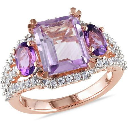 French Ring Sport (4-5/8 Carat T.G.W. Rose de France, Amethyst and Created White Sapphire Pink Rhodium-Plated Sterling Silver Cocktail)