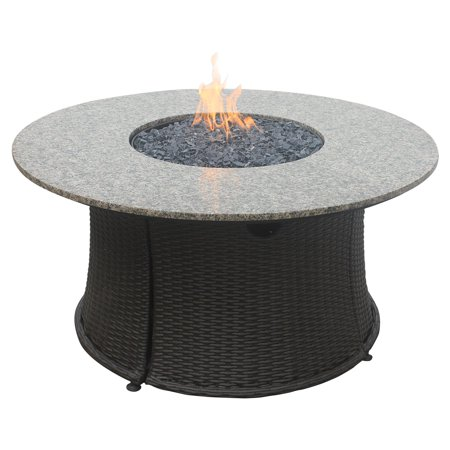 Uniflame Round Granite Wicker Propane Fire Table