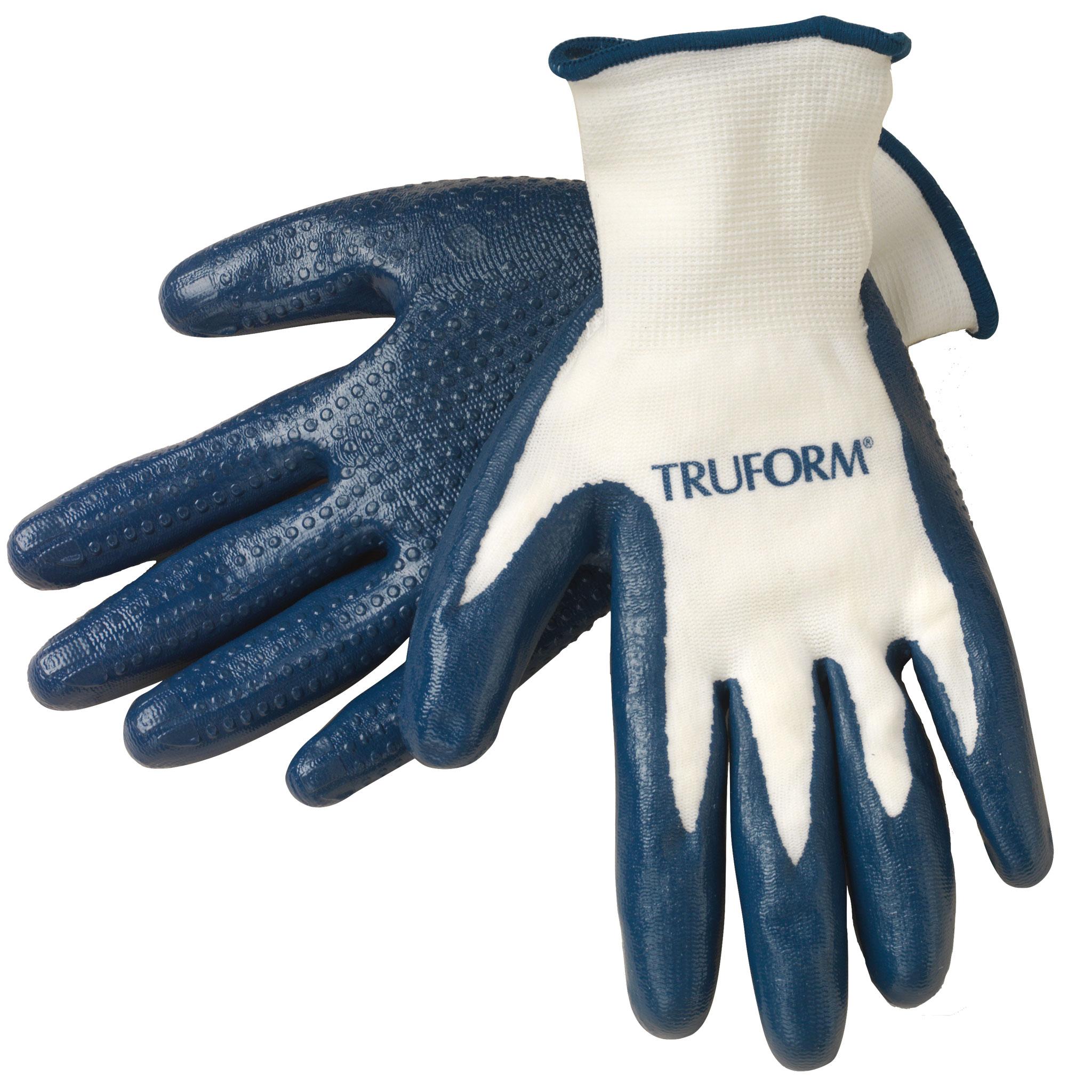 Truform Donning Gloves, White / Blue, Medium