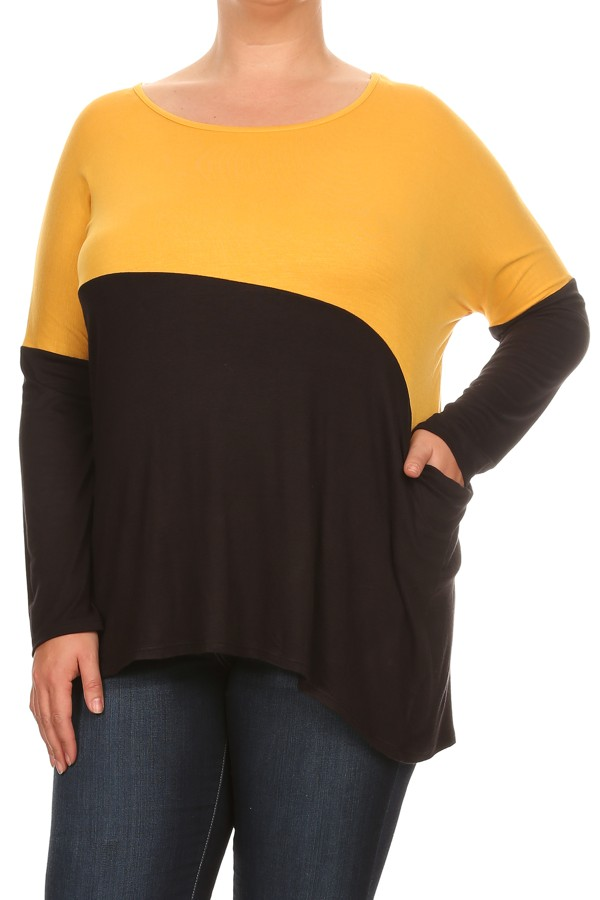 Women's PLUS trendy style  long sleeve  tunic top.