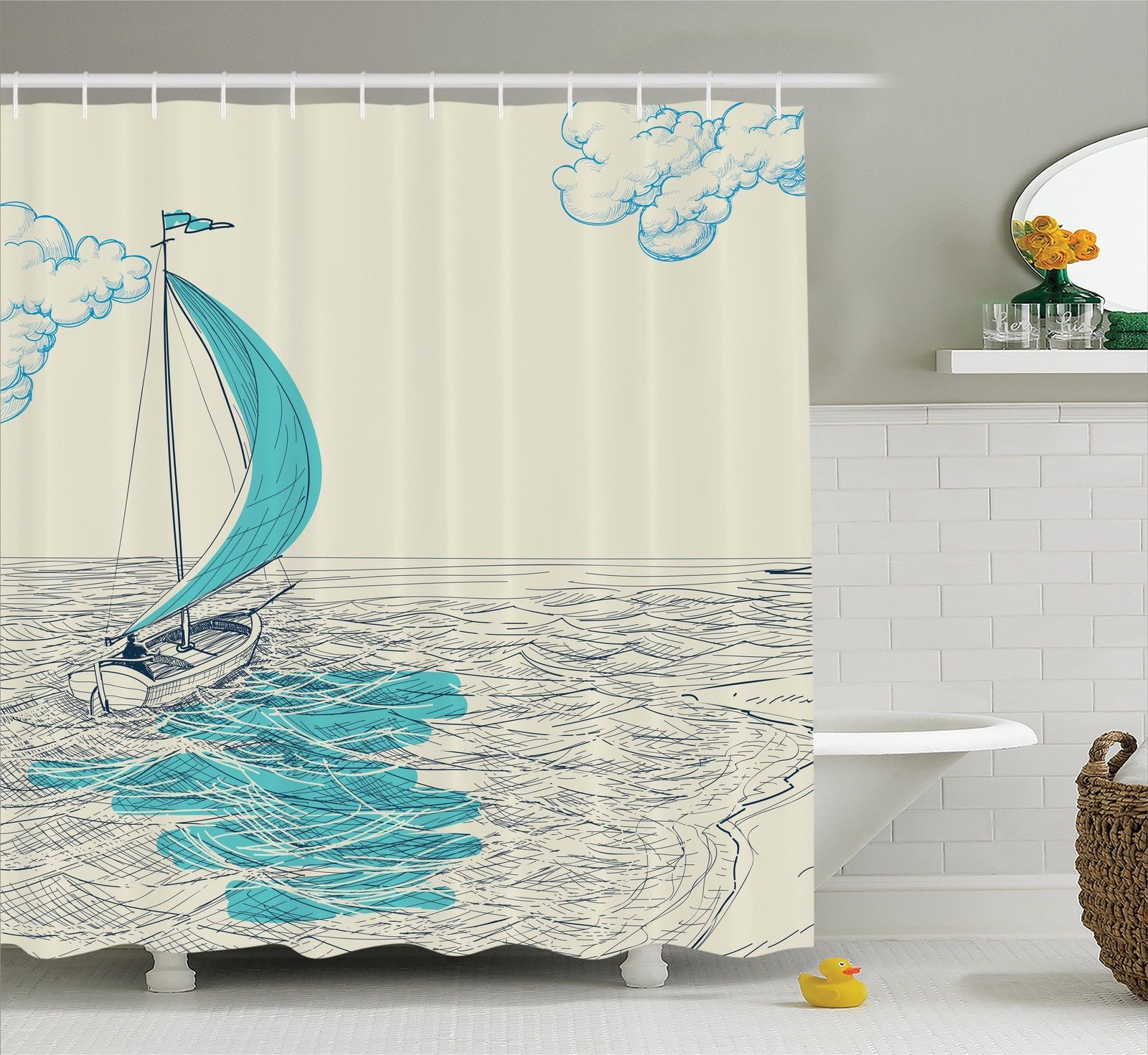 Nautical Decor Shower Curtain Set, Sailing Boat Reflection Cloudy Sky Sandy Seaside Shoreline Hobby Water Sports, Bathroom Accessories, 69W X 70L Inches, By Ambesonne