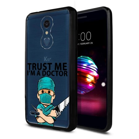 FINCIBO Slim TPU Bumper + Clear Hard Back Cover for LG K10/ K10+ Plus K30, Trust the Young