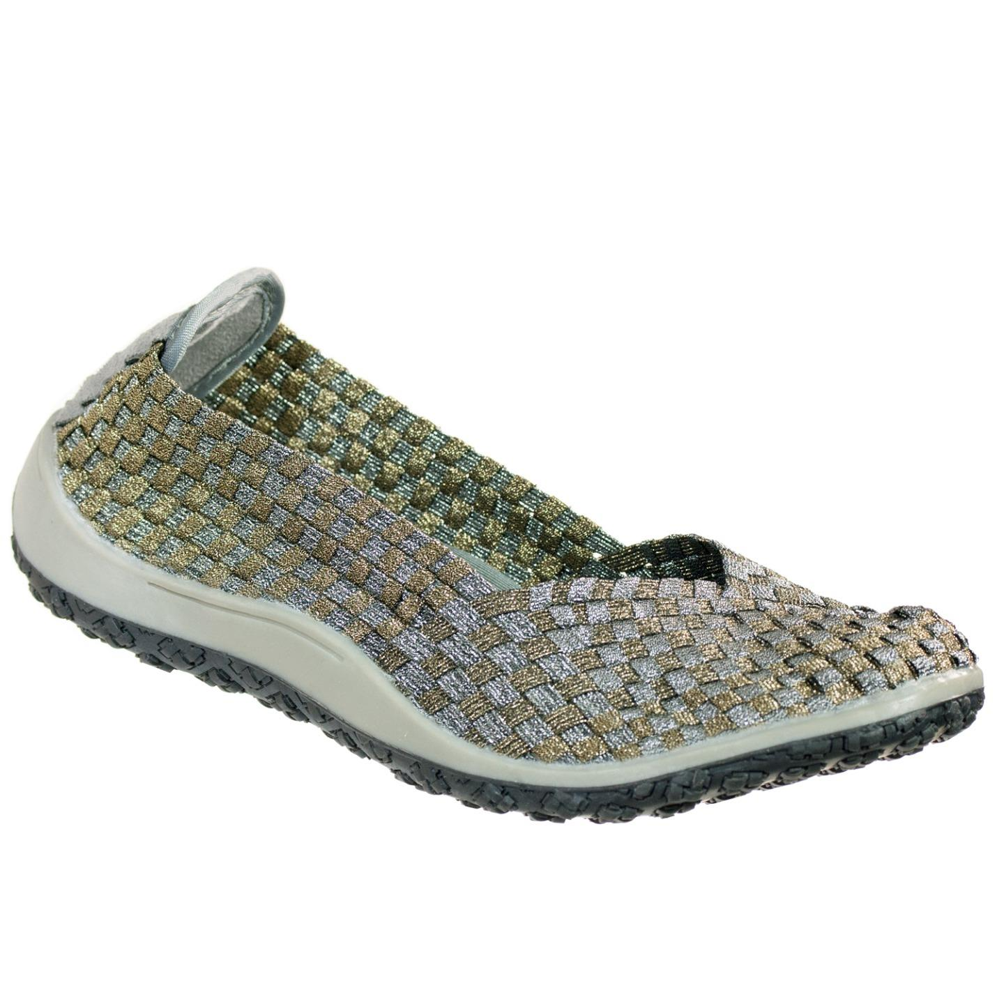 Zee Alexis Spice Womens Woven Slip On Shoes Pewter Bronze 6 M