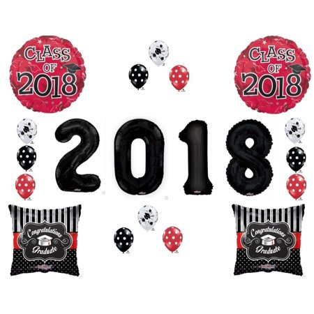 Red & Black Class of 2018 Graduation Party Balloons Decoration Supplies XL #'s!