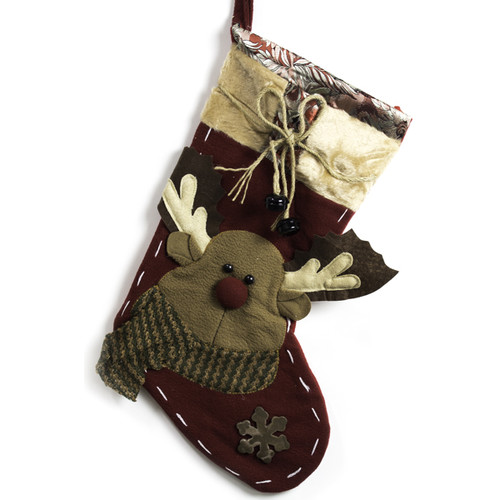 Imperial Home Reindeer with Bells Stocking