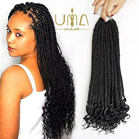 UNA (4Packs) Curly Box Braids Hair 20inch Goddess Box Braid Braiding Hair Braids Mambo Hair Extension 18Roots/Pack (1B) - image 4 of 4