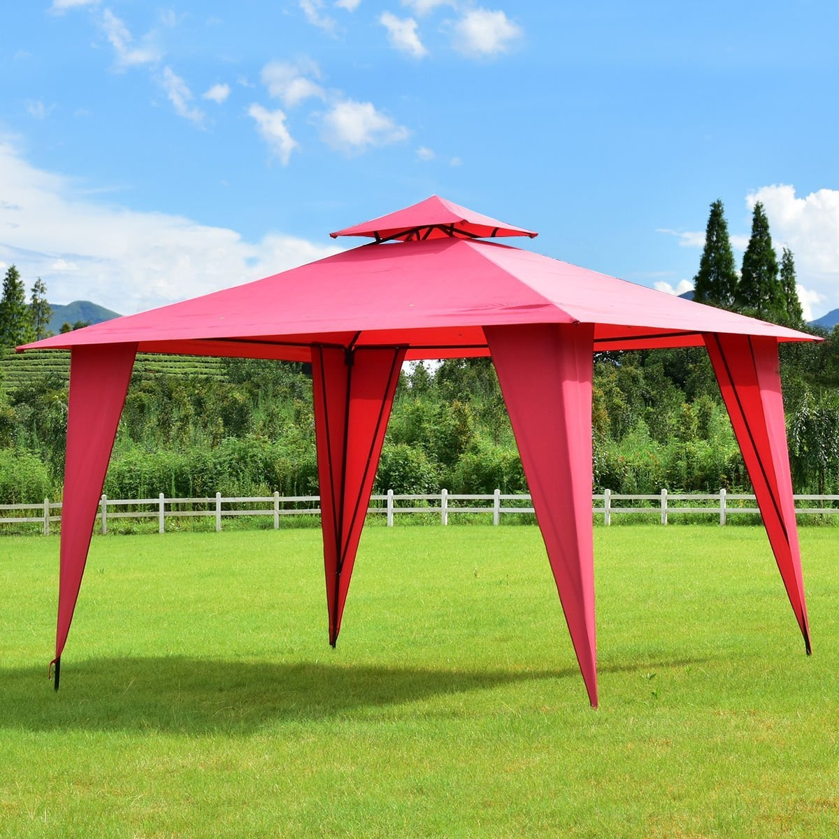New MTN-G MTN-G 2-Tier 11x11 Gazebo Canopy Shelter Patio Party Tent Outdoor Awning Burgundy by MTN Gearsmith