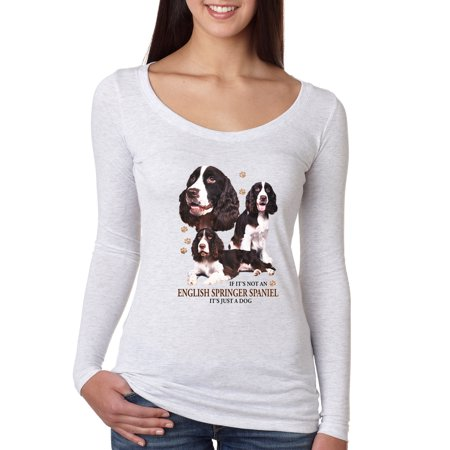 If It's Not an English Springer Spaniel It's Just a Dog Gift   Womens Dog Lover Scoop Long Sleeve Top, Heather White, Small