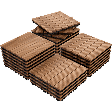 12 x 12'' (27 PCS) Patio Pavers Interlocking Wood Tiles Wood Flooring Tiles Indoor & Outdoor For Patio Garden Deck Poolside Ceramic Tile Wood Box
