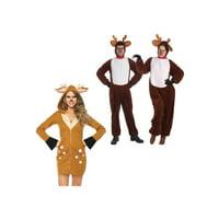 Reindeer Plush Men Costume and Reindeer Women Costume Couples Set