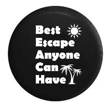 Beach   Best Escape Anyone Can Have Palm Trees Sun Spare Tire Cover Vinyl Black 33 In
