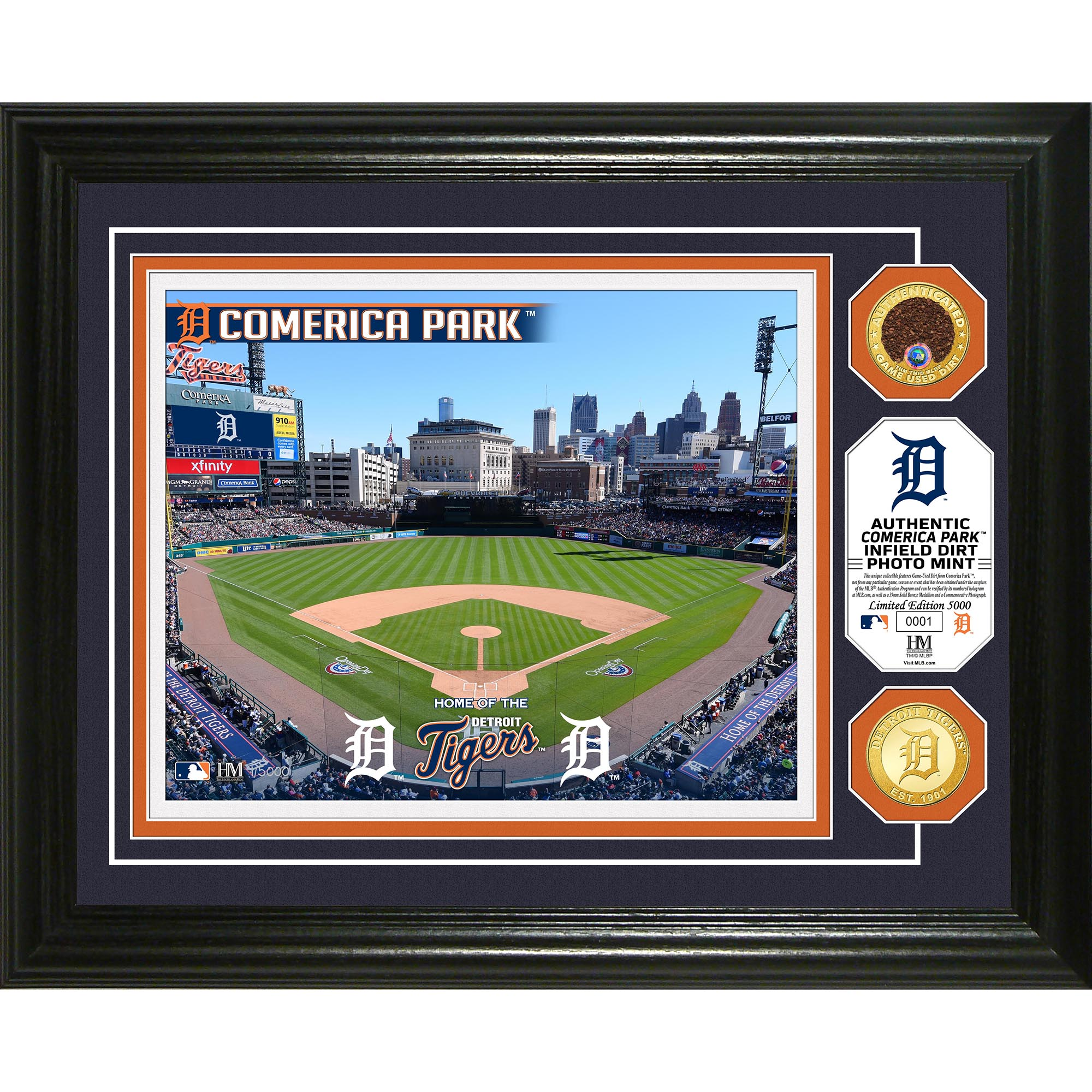 "Detroit Tigers Highland Mint 13"" x 16"" Dirt Coin Photo Mint - No Size"