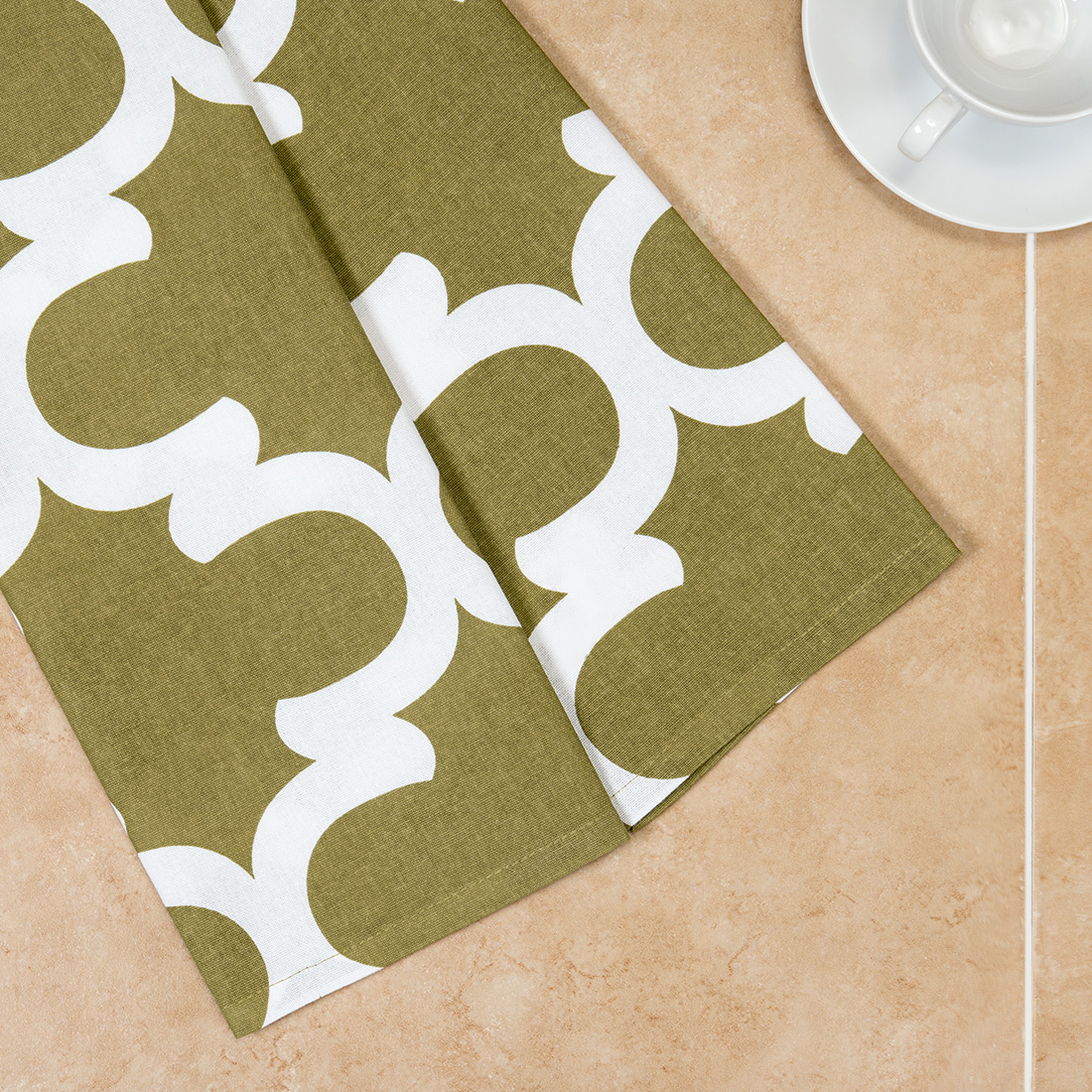 18 x 28 in. Olive Green & White Trellis Kitchen Towels 2 pack by
