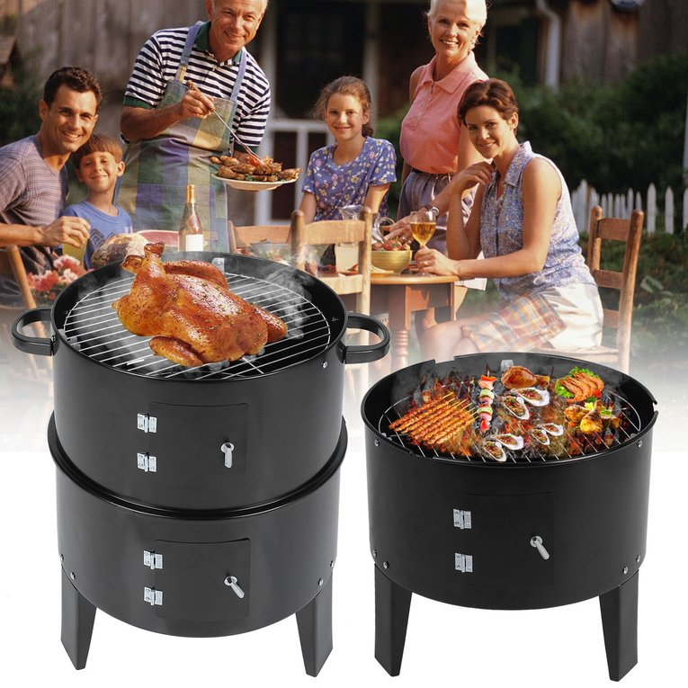 3 In 1 Charcoal BBQ Grill Multi-Functional Barbecue Grill Camping Charbroiler