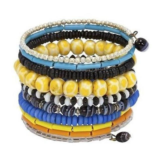 CFM Ten Turn Bead and Bone Bracelet, Multicolored