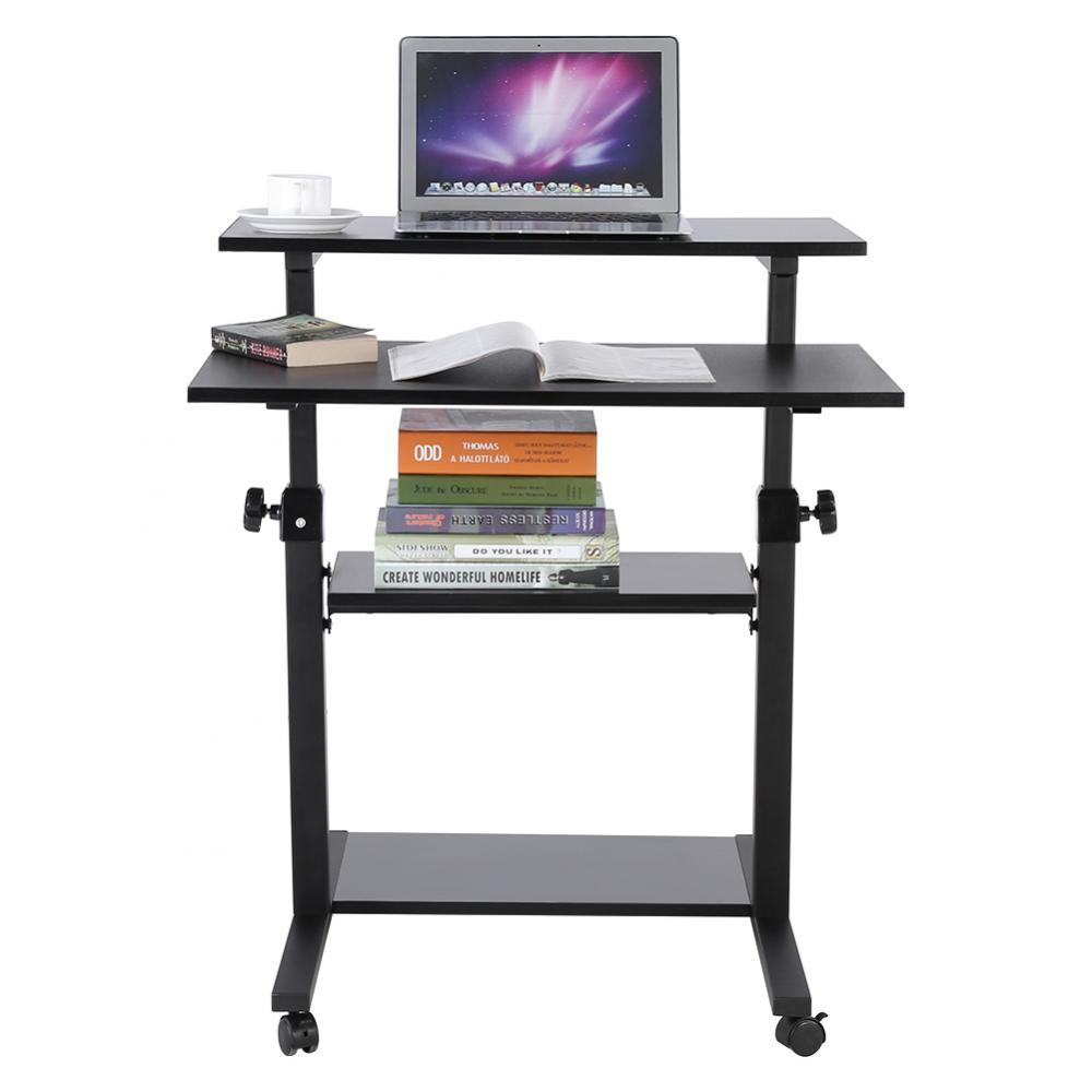 Ejoyous Wooden Mobile Standing Computer Work Station Desk Adjustable Height Rolling Presentation Cart,Computer Work Station, Adjustable Computer Desk
