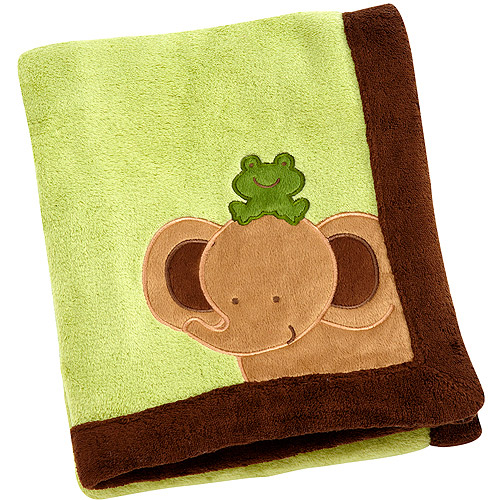 Little Bedding by Nojo Baby Safari Applique Coral Blanket, Green