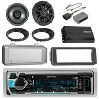 "Kenwood KMRM318 Marine Digital Media Receiver, Kicker 6.5"" 2-Way Speakers, Dash Kit For 96-13 Harley Davidson, Handlebar Control Interface, Weathershield, Speaker Adapters, Compact Amplifier"
