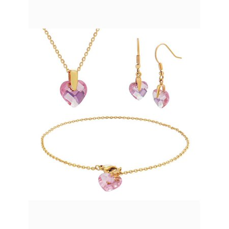 Stainless Steel Pink Glass Heart Pendant Bracelet and Earrings 3 Piece (Heart Glasses Pink)