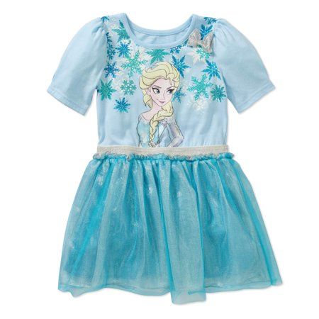 Disney Frozen Toddler Girl Elsa Snowflake Tutu Dress With 3D Bow