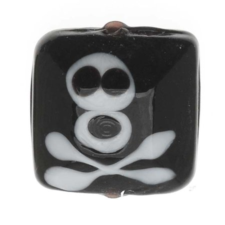 Lampwork Glass Novelty Halloween Beads, Skull & Crossbones 16mm Square, 4 Pieces, Black and White - Halloween Lampwork Beads