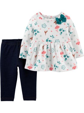 Child of Mine by Carter's Baby Girl Fleece Long Sleeve Floral Shirt and Pant Set, 2 pc set