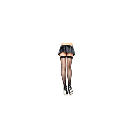 Black Net with Seam Thigh High Adult Halloween Accessory, One Size, (4-14)