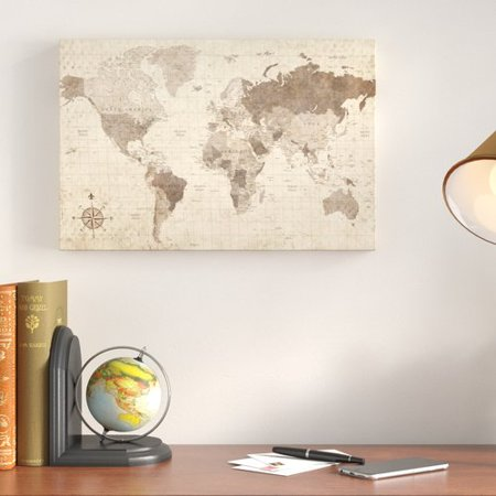 Charlton home distressed world map rectangle graphic art print on charlton home distressed world map rectangle graphic art print on canvas gumiabroncs Images
