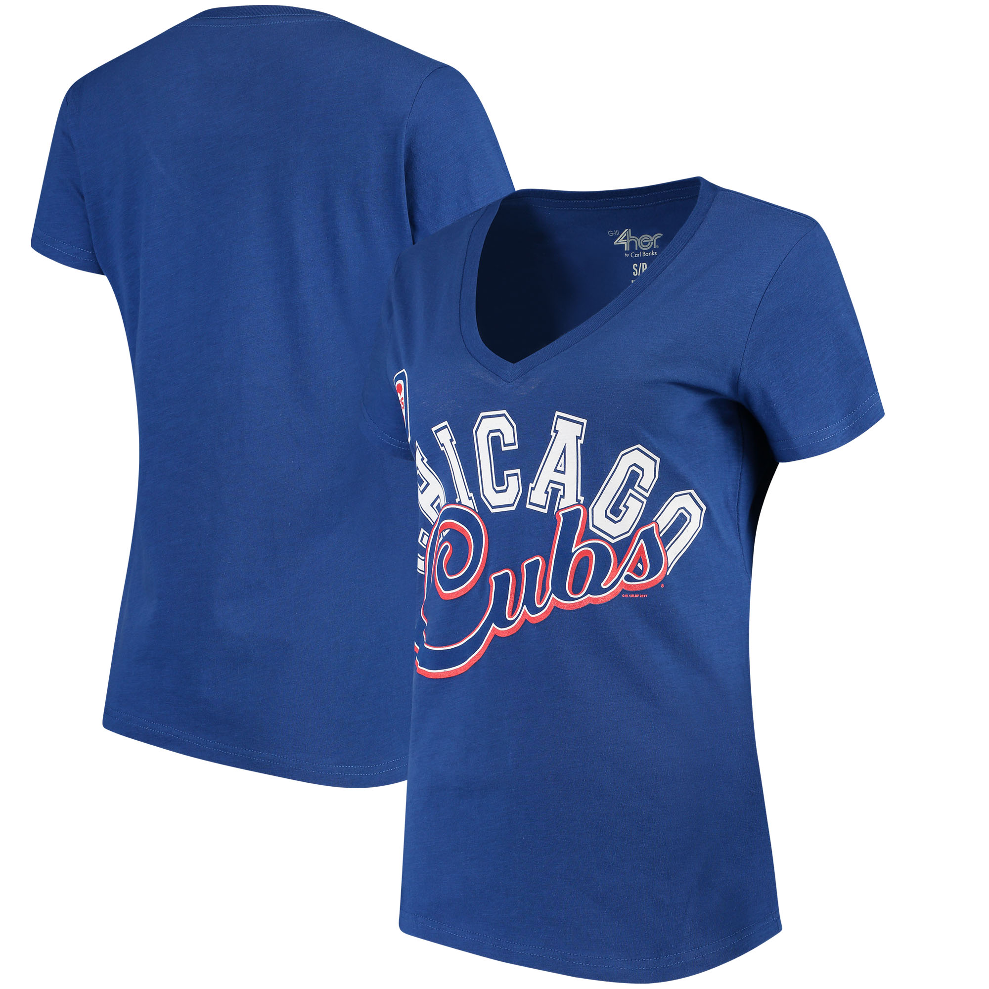 Chicago Cubs G-III 4Her by Carl Banks Women's Fair Catch V-Neck T-Shirt - Royal