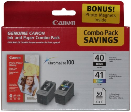 Canon PG-40/CL-41 Cartridges and Glossy Photo Paper Combo...