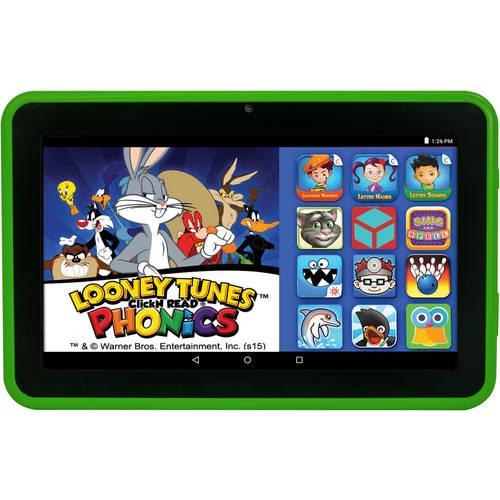 "HighQ Learning Tab 7"" Kids Tablet 16GB Intel Atom Processor Preloaded with Learning Apps & Games Green"